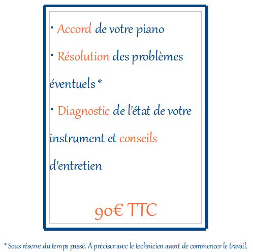 Le tarif de 90€ inclut l'accord de votre piano, la résolution des problèmes éventuels, le diagnostic de l'état de votre instrument et des conseils d'entretien