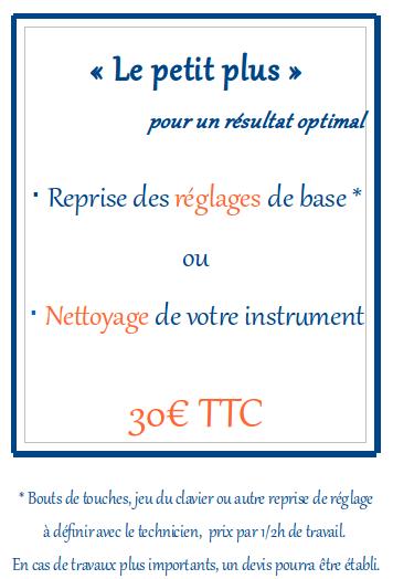 Le petit plus pour un résultat optimal : reprise des réglages de bases ou nettoyage de votre instrument. 30€ TTC par demi-heure